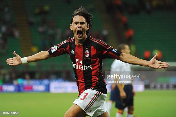 Filippo Inzaghi of AC Milan celebrates his goal during the Serie A match between AC Milan and US Lecce at Stadio Giuseppe Meazza on August 29 2010 in...