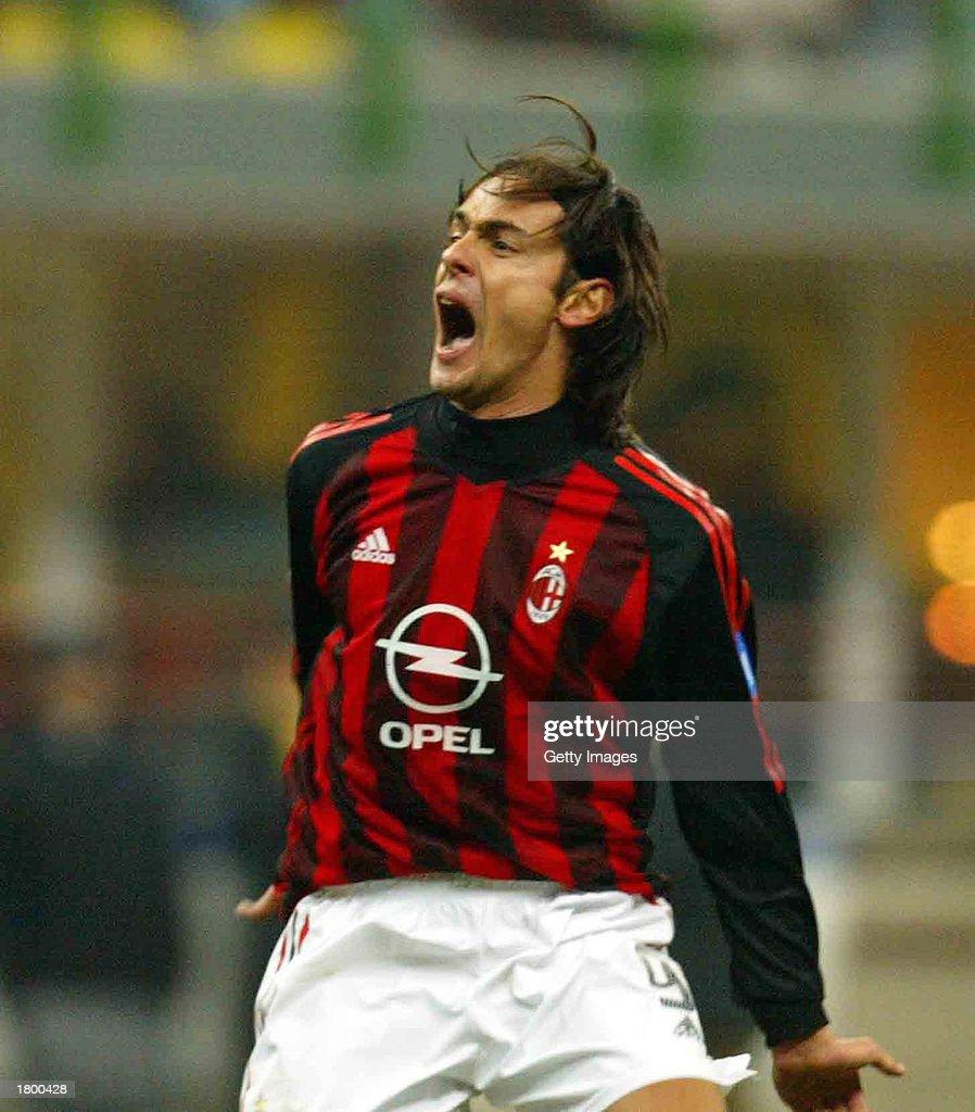 Filippo Inzaghi of AC Milan celebrates scoring