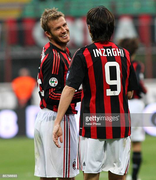 Filippo Inzaghi of AC Milan celebrates with David Beckham during the Serie A match between AC Milan and Atalanta BC at the Stadio Meazza on March 08...