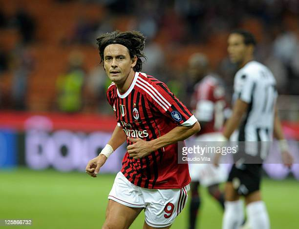 Filippo Inzaghi of AC Milan during the Serie A match between AC Milan and Udinese Calcio at Stadio Giuseppe Meazza on September 21 2011 in Milan Italy