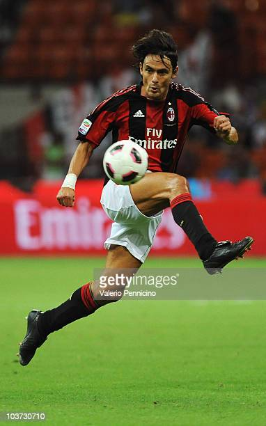 Filippo Inzaghi of AC Milan in action during the Serie A match between AC Milan and US Lecce at Stadio Giuseppe Meazza on August 29 2010 in Milan...