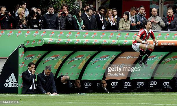 Filippo Inzaghi of AC Milan warms up before coming on as a substitute during the Serie A match between AC Milan and Novara Calcio at Stadio Giuseppe...