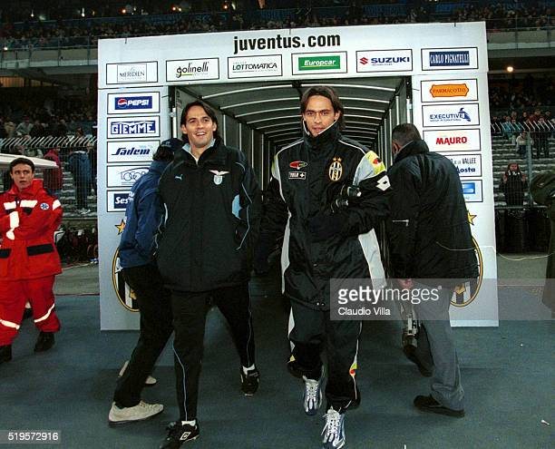 Filippo Inzaghi of FC Juventus and Simone Inzaghi of SS Lazio chat prior to the Serie A match between Juventus and Lazio played at Delle Alpi Stadium...