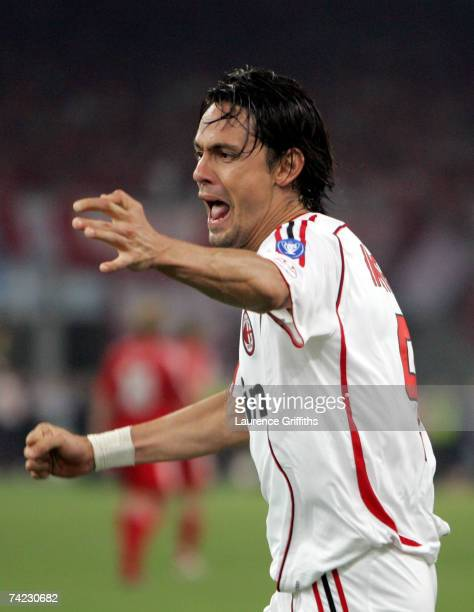 Filippo Inzaghi of Milan celebrates after scoring the opening goal during the UEFA Champions League Final match between Liverpool and AC Milan at the...