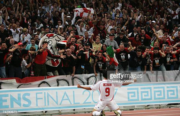 Filippo Inzaghi of Milan celebrates in front of the fans after scoring the opening goal during the UEFA Champions League Final match between...