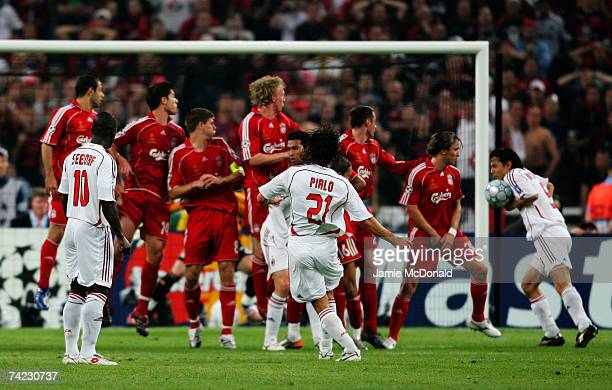 Filippo Inzaghi of Milan deflects the ball into the net to score the opening goal during the UEFA Champions League Final match between Liverpool and...