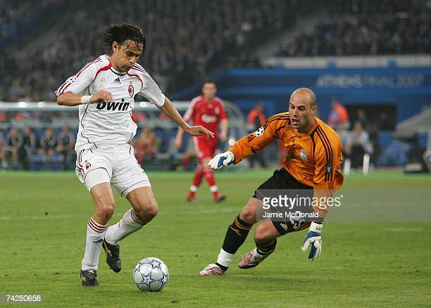 Filippo Inzaghi of Milan scores his teams second goal past Pepe Reina of Liverpool during the UEFA Champions League Final match between Liverpool and...