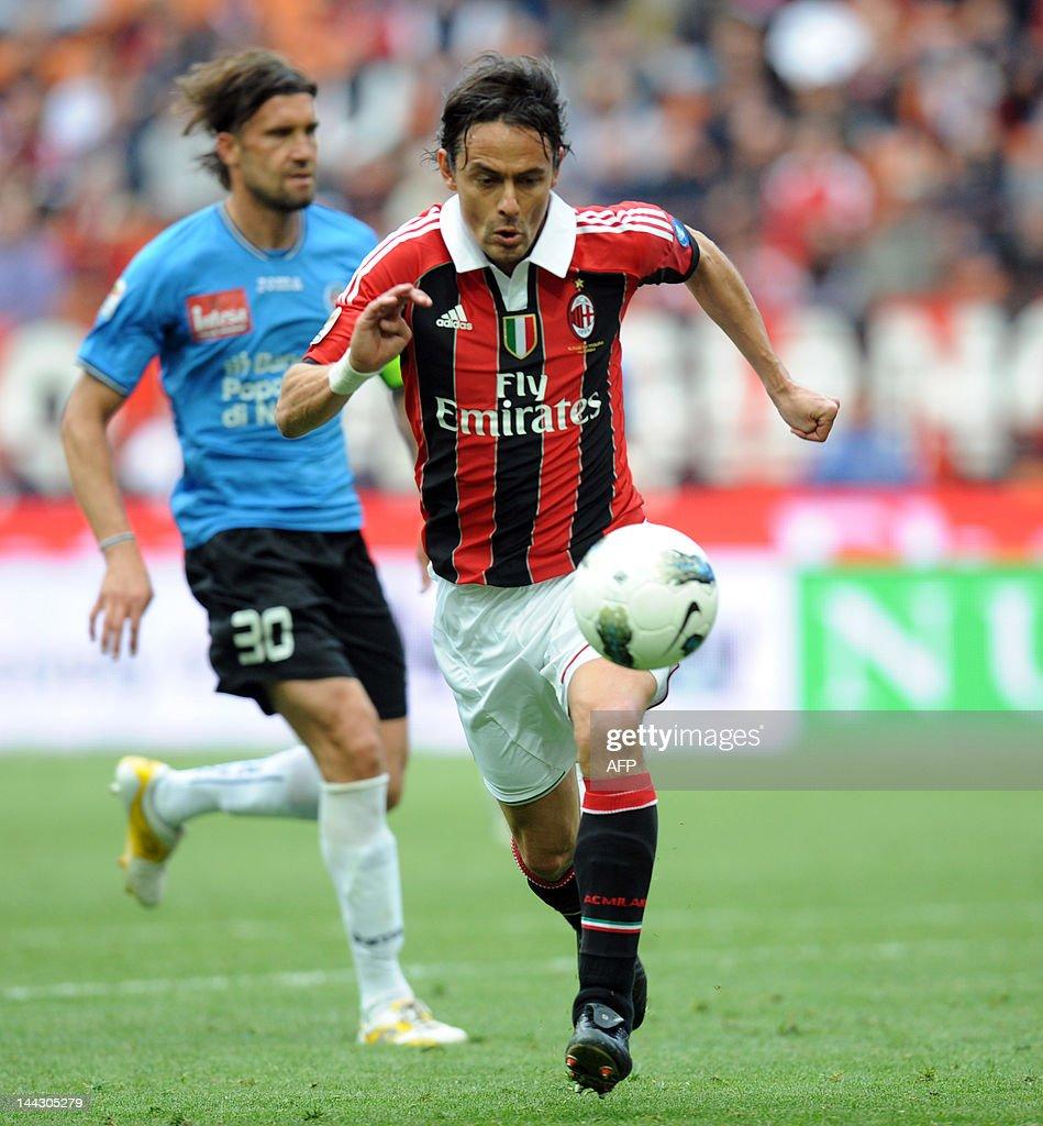 Filippo Inzaghi scores during the Italia