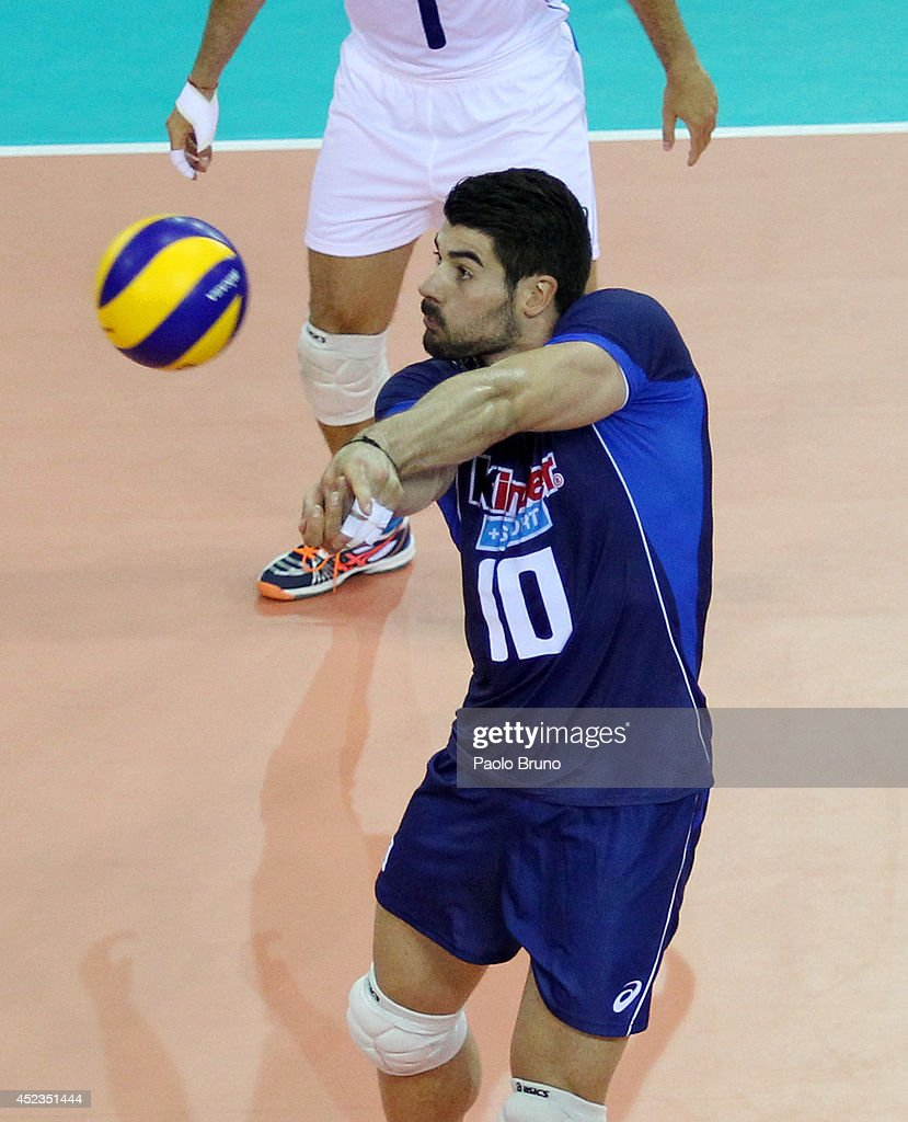 Filippo Lanza #10 of Italy in action during the FIVB World League Final Six match between Australia and Italy at Mandela Forum on July 18, 2014 in Florence, Italy.
