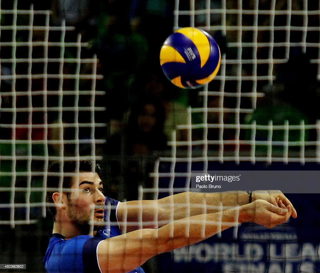 Filippo Lanza of Italy in action during the FIVB World League Final Six semifinal match between Italy and Brazil at Mandela Forum on July 19, 2014 in Florence, Italy.