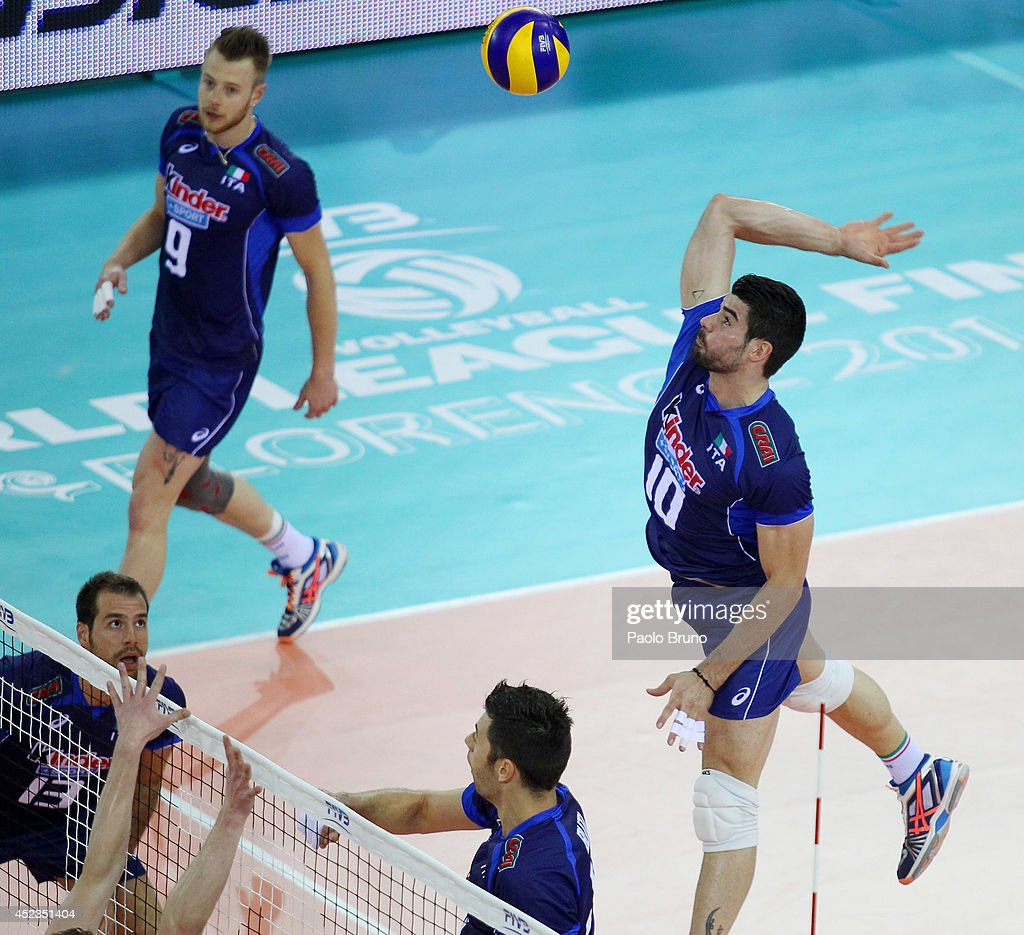 Filippo Lanza #10 of Italy spikes the ball during the FIVB World League Final Six match between Australia and Italy at Mandela Forum on July 18, 2014 in Florence, Italy.