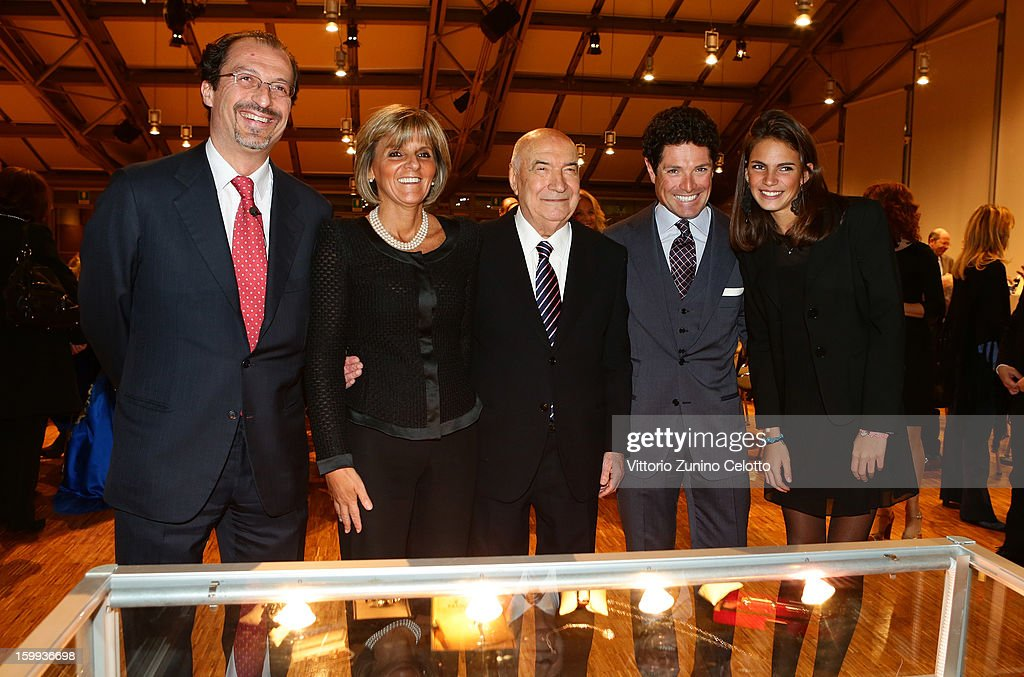 Filippo Lotti, Donatella Treu, Vittoriano Faganelli, Matteo Marzotto, Ludovica Treu attend the Sotheby's charity auction for FFC Onlus on January 23, 2013 in Milan, Italy.