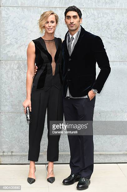 Filippo Magnini and Federica Pellegrini arrive at the Giorgio Armani show during the Milan Fashion Week SpTrussardiring/Summer 2016 on September 28...