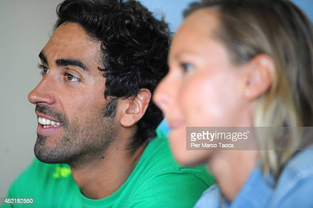 Filippo Magnini and Federica Pellegrini attend the Swimming Cup 2014 press conference on July 15 2014 in Milan Italy