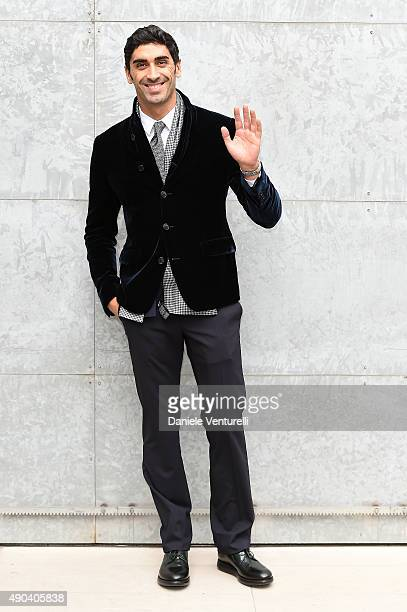 Filippo Magnini arrives at the Giorgio Armani show during the Milan Fashion Week SpTrussardiring/Summer 2016 on September 28 2015 in Milan Italy