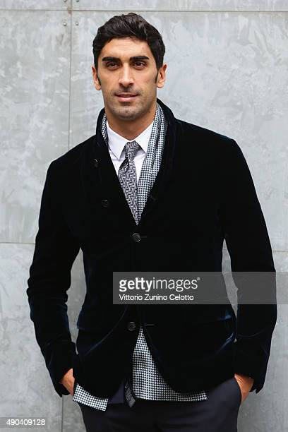 Filippo Magnini arrives at the Giorgio Armani show during the Milan Fashion Week Spring/Summer 2016 on September 28 2015 in Milan Italy