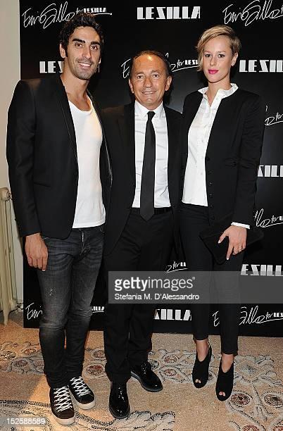 Filippo Magnini Designer Ennio Silla and Federica Pellegrini attend Le Silla Press Day as part of Milan Fashion Week Womenswear S/S 2013 on September...