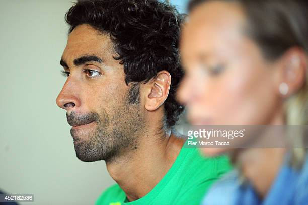 Filippo Magnini Federica Pellegrini attend the Swimming Cup 2014 press conference on July 15 2014 in Milan Italy