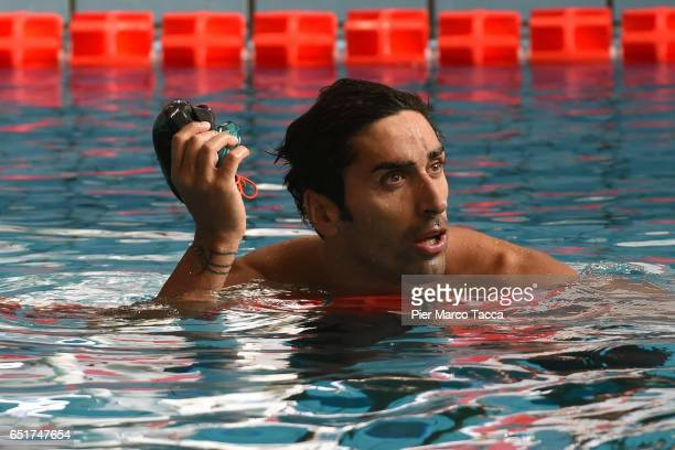 Filippo Magnini of Italy attends the Men's100m Freestyle final of 7th Citta di Milano Swimming Trophy on March 10 2017 in Milan Italy