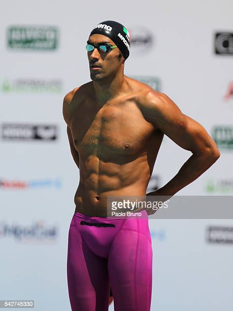 Filippo Magnini of Italy looks on before to compete in the Men's 50m Freestyle heats during the 53rd 'Sette Colli' International Swimming Trophy at...
