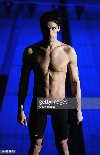 Filippo Magnini poses during a Photo call prior to the Duel in the Pool at The Manchester Aquatic Centre on December 17 2009 in Manchester England