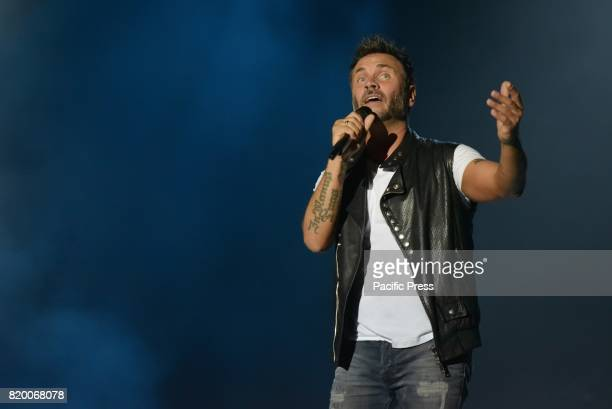 Filippo Neviani known by his stage name Nek is an Italian singersongwriter and musician performs live on stage at Arena Flegrea in Napoli for...