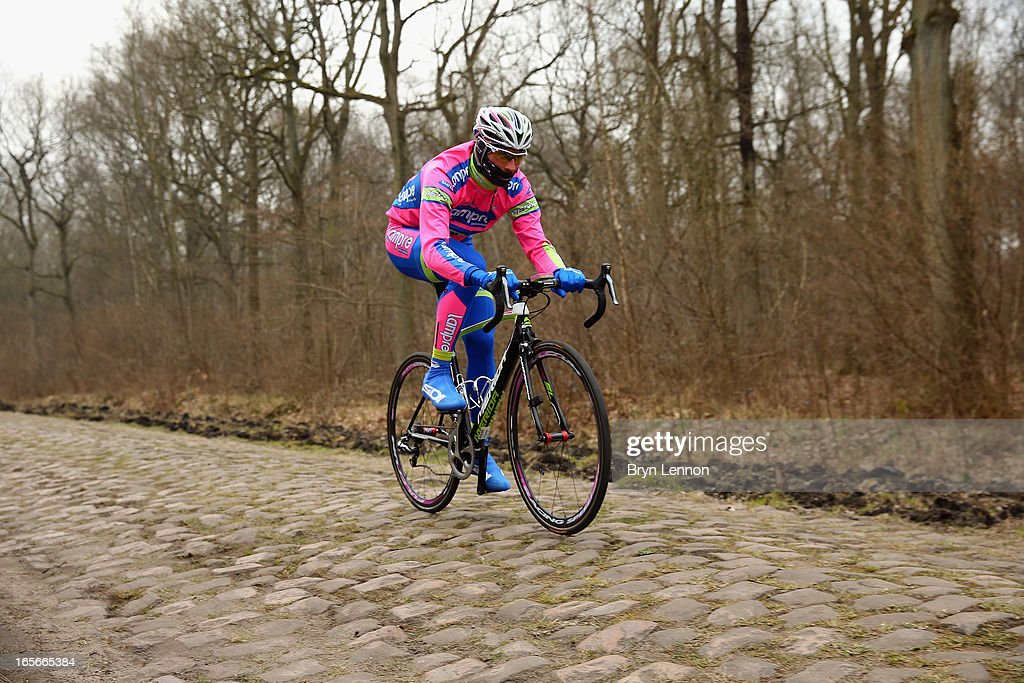 <a gi-track='captionPersonalityLinkClicked' href=/galleries/search?phrase=Filippo+Pozzato&family=editorial&specificpeople=702897 ng-click='$event.stopPropagation()'>Filippo Pozzato</a> of Italy an Lampre Merida rides through the Arenberg forest during training for the 2013 Paris - Roubaix cycle race on April 5, 2013 in Wallers, France. (Photo by Bryn Lennon/Getty Images) Sunday's race will be 254km long and contain 27 sections of cobblestones.