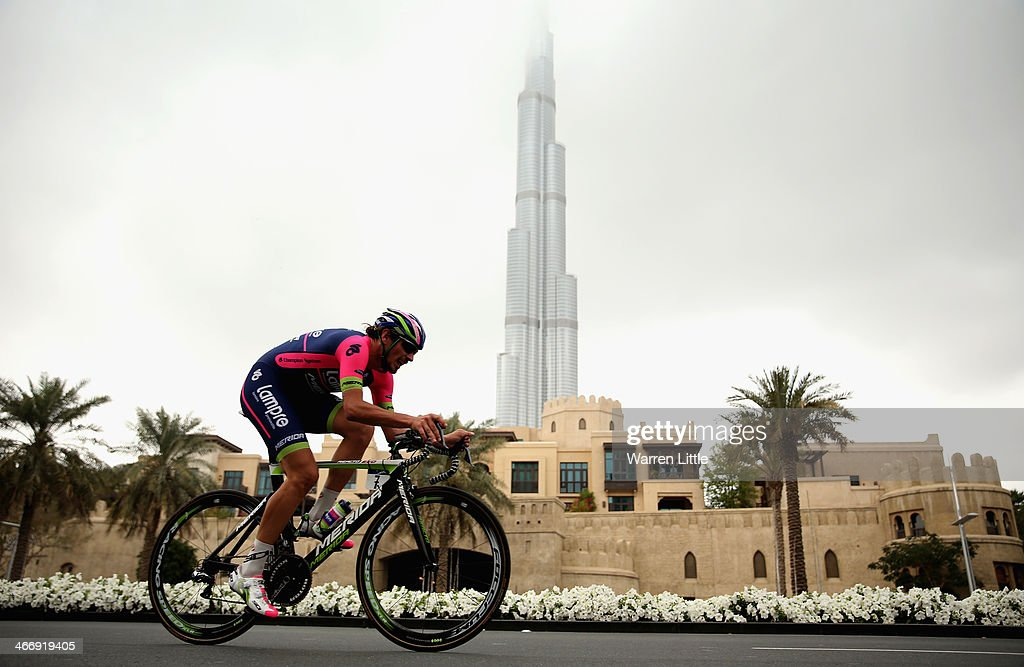 <a gi-track='captionPersonalityLinkClicked' href=/galleries/search?phrase=Filippo+Pozzato&family=editorial&specificpeople=702897 ng-click='$event.stopPropagation()'>Filippo Pozzato</a> of Italy and Lampre-Merida races past the Burj Khalifa during the time trial on stage one of the 2014 Tour of Dubai on February 5, 2014 in Dubai, United Arab Emirates.