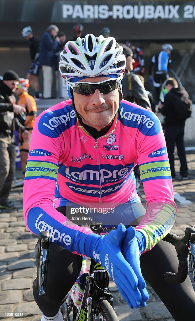 <a gi-track='captionPersonalityLinkClicked' href=/galleries/search?phrase=Filippo+Pozzato&family=editorial&specificpeople=702897 ng-click='$event.stopPropagation()'>Filippo Pozzato</a> of Italy and Team Lampre-Merida gets ready before the start of the 111th edition of Paris-Roubaix at the 'Place du Chateau' on April 7, 2013 in Compiegne, France.