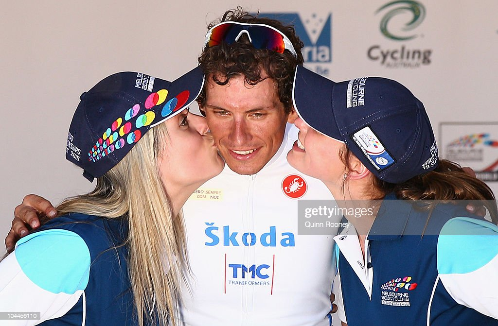 <a gi-track='captionPersonalityLinkClicked' href=/galleries/search?phrase=Filippo+Pozzato&family=editorial&specificpeople=702897 ng-click='$event.stopPropagation()'>Filippo Pozzato</a> of Italy is kissed after winning at the Herald Sun World Cycling Classic on September 26, 2010 in Ballarat, Australia.