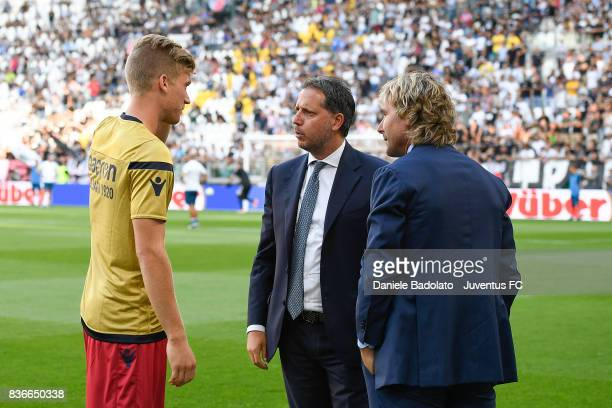 Filippo Romagna Fabio Paratici and Pavel Nedved during the Serie A match between Juventus and Cagliari Calcio at Allianz Stadium on August 19 2017 in...