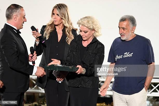 Filippo Romano Tiziana Rocca Monica Guerritore and Renato Accorinti attend 62 Taormina Film Fest Pre Opening on June 10 2016 in Messina Italy