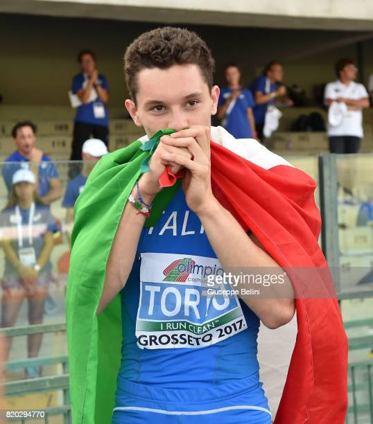 Filippo Tortu of Italy celebrates the victory of 100 m Men during European Athletics U20 Championships on July 21 2017 in Grosseto Italy