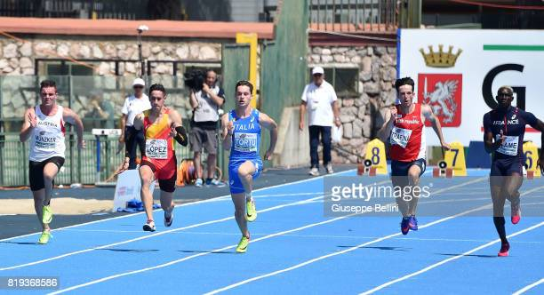 Filippo Tortu of Italy in action during European Athletics U20 Championships on July 20 2017 in Grosseto Italy