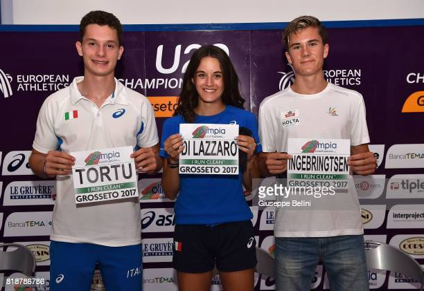 Filippo Tortu of Italy Jakob Ingebrigtsen of Norway and Elisa Di Lazzaro of Italy attend the press conference during European Athletics U20...