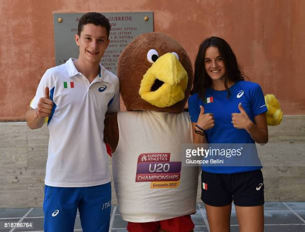 Filippo Tortu of Italy mascot Leopoldo and Elisa Di Lazzaro of Italy attend the press conference during European Athletics U20 Championships on July...