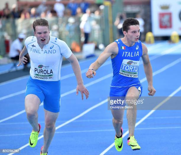 Filippo Tortu of Italy wins 100 m Men during European Athletics U20 Championships on July 21 2017 in Grosseto Italy