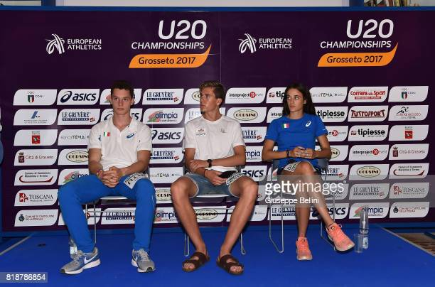 Filippo Tortu of ItalyJakob Ingebrigtsen of Norway and Elisa Di Lazzaro of Italy attend the press conference during European Athletics U20...