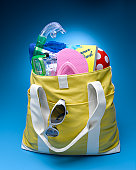 Filled beach bag