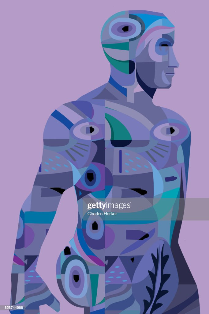 Filled silhouette illustration of a man in vivid blue and purple : Stock Photo