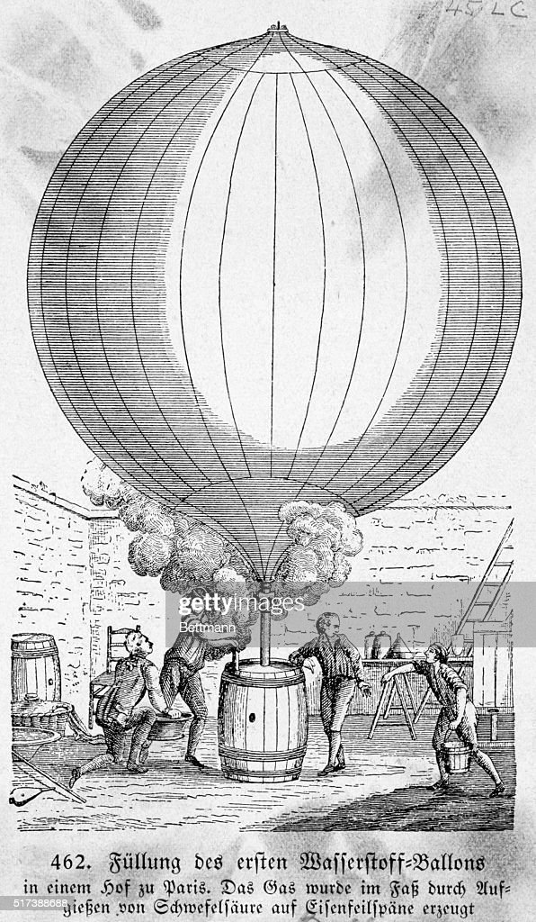 Filling a hydrogen balloon in Paris Gas produced by pouring sulfuric acid upon filings of iron Engraving 18th cent BPA2# 398