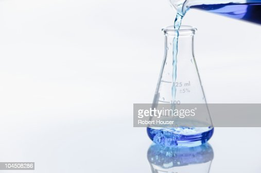 filling a laboratory flask