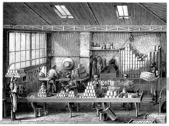 Filling and soldering cans of food France c1870 Canning as a method of food preservation originated in the first half of the 19th century