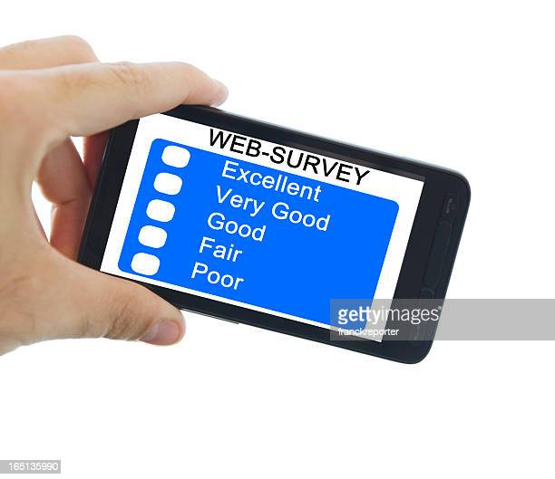 Filling Online web survey Questionnaire on smartphone
