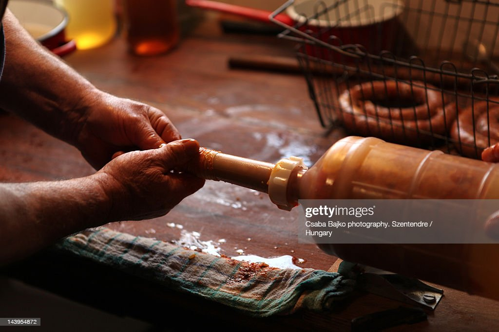 Filling sausages : Stock Photo