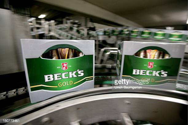 Filling station of Beck's Gold at the beer brewery Beck Co in Bremen Germany