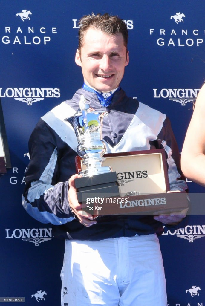 Filly Sanga Jockey Stephane Pasquier attends the 'Prix de Diane Longines 2017' on June 18, 2017 at Chantilly, France.