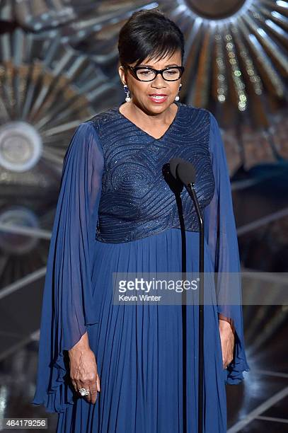 Film Academy President Cheryl Boone Isaacs speaks onstage during the 87th Annual Academy Awards at Dolby Theatre on February 22 2015 in Hollywood...
