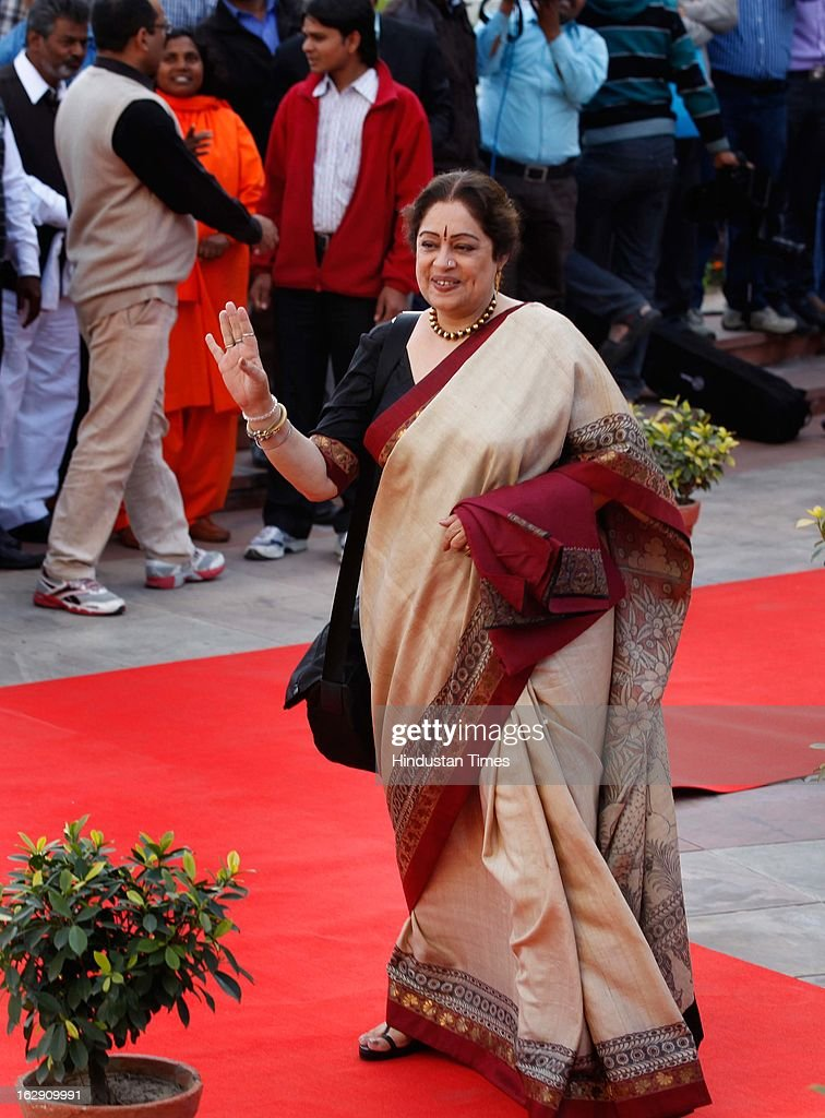 Film Actor and Bharatiya Janata Party leader Kiron Kher going for the Bharatiya Janata Party National convention at NDMC Convention Hall Near Jantar Mantar on March 1, 2013 in New Delhi, India. BJP leaders will discuss party's preparations with eye on the general elections and many assembly elections next one year.