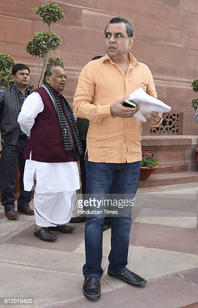 Film actor and BJP MP Paresh Rawal after attending the Parliament Budget Session 2016 on February 24 2016 in New Delhi India The first working day of...
